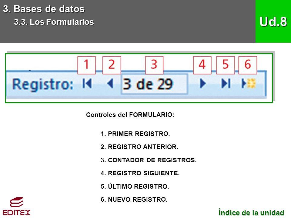 Controles del FORMULARIO: 1. PRIMER REGISTRO. 2.