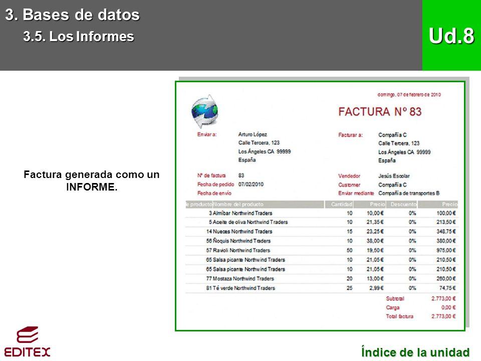 Factura generada como un INFORME. 3. Bases de datos 3.5.