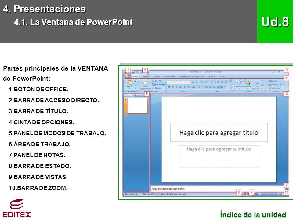 Partes principales de la VENTANA de PowerPoint: 1.BOTÓN DE OFFICE.