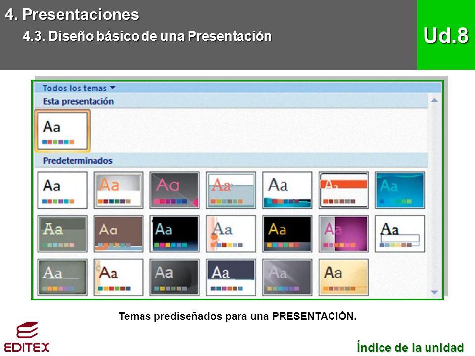 Temas prediseñados para una PRESENTACIÓN. 4. Presentaciones 4.3.