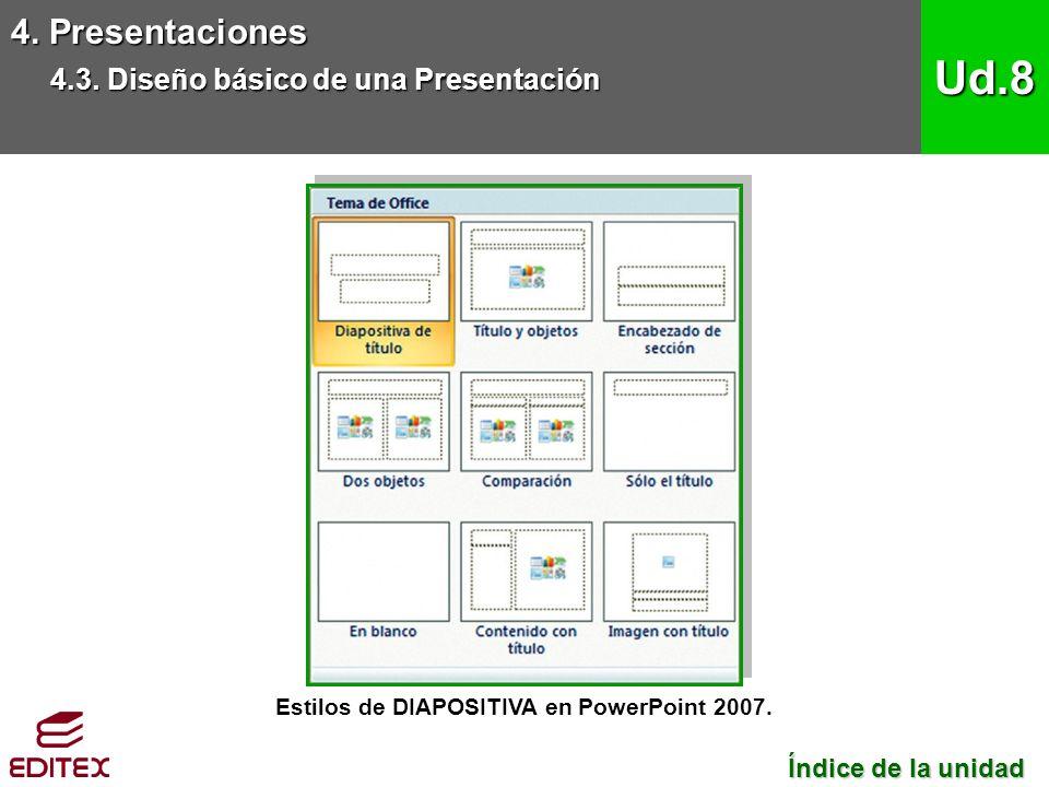 Estilos de DIAPOSITIVA en PowerPoint 2007. 4. Presentaciones 4.3.