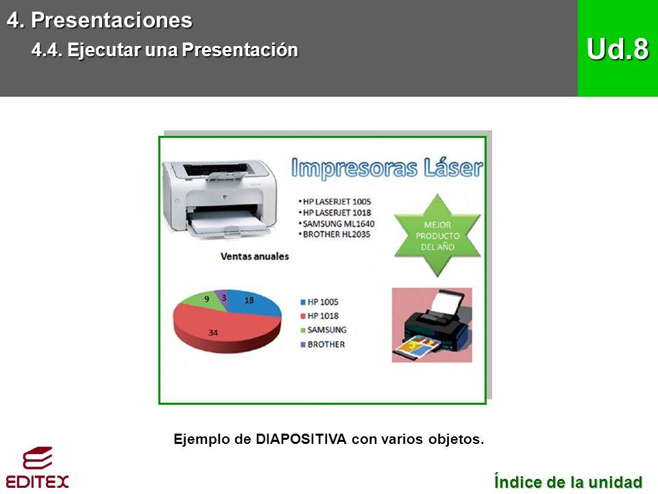 Ejemplo de DIAPOSITIVA con varios objetos. 4. Presentaciones 4.4.