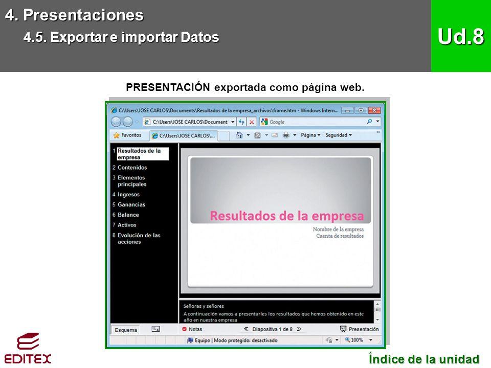PRESENTACIÓN exportada como página web. 4. Presentaciones 4.5.