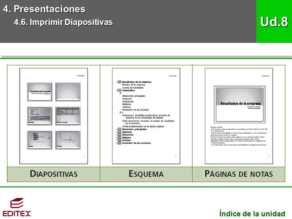4. Presentaciones 4.6. Imprimir Diapositivas Ud.8 Índice de la unidad Índice de la unidad