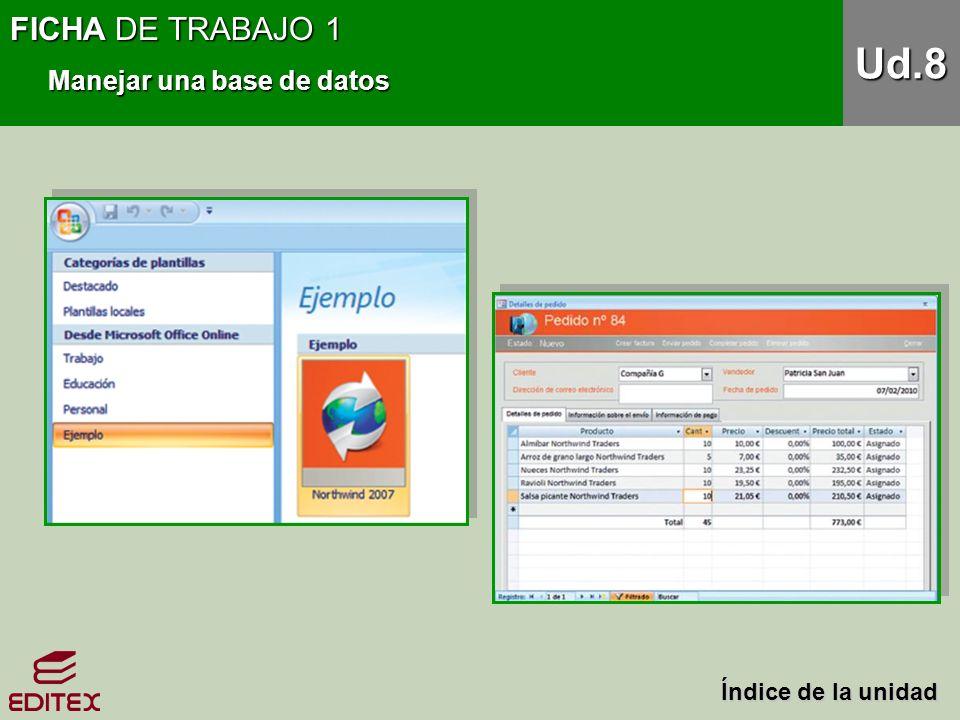 FICHA DE TRABAJO 1 Manejar una base de datos Ud.8 Índice de la unidad Índice de la unidad