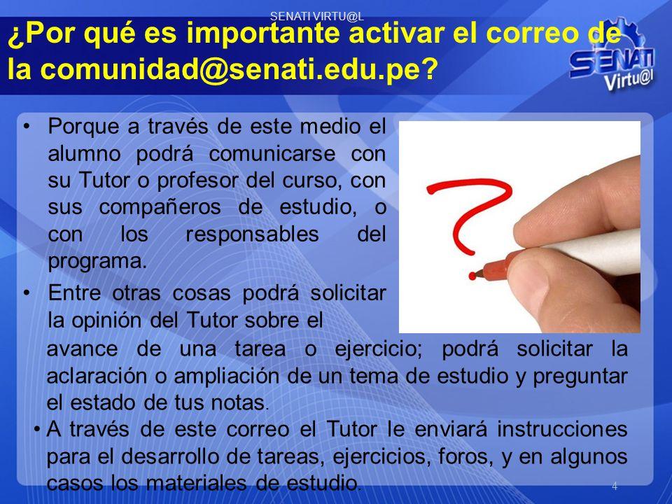 Ingrese a HOTMAIL: http://www.hotmail.com Y digite su usuario (ID), seguido de @comunidad.senati.edu.pe Luego digite la contraseña que se le dio (6 dígitos).