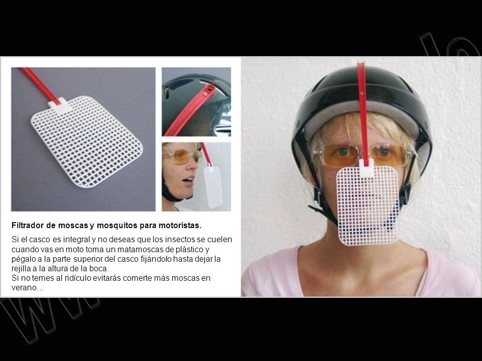 Filtrador de moscas y mosquitos para motoristas. Si el casco es integral y no deseas que los insectos se cuelen cuando vas en moto toma un matamoscas