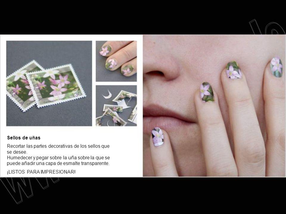 Sellos de uñas Recortar las partes decorativas de los sellos que se desee. Humedecer y pegar sobre la uña sobre la que se puede añadir una capa de esm