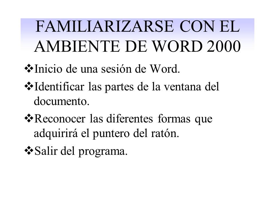 FAMILIARIZARSE CON EL AMBIENTE DE WORD 2000 Inicio de una sesión de Word.