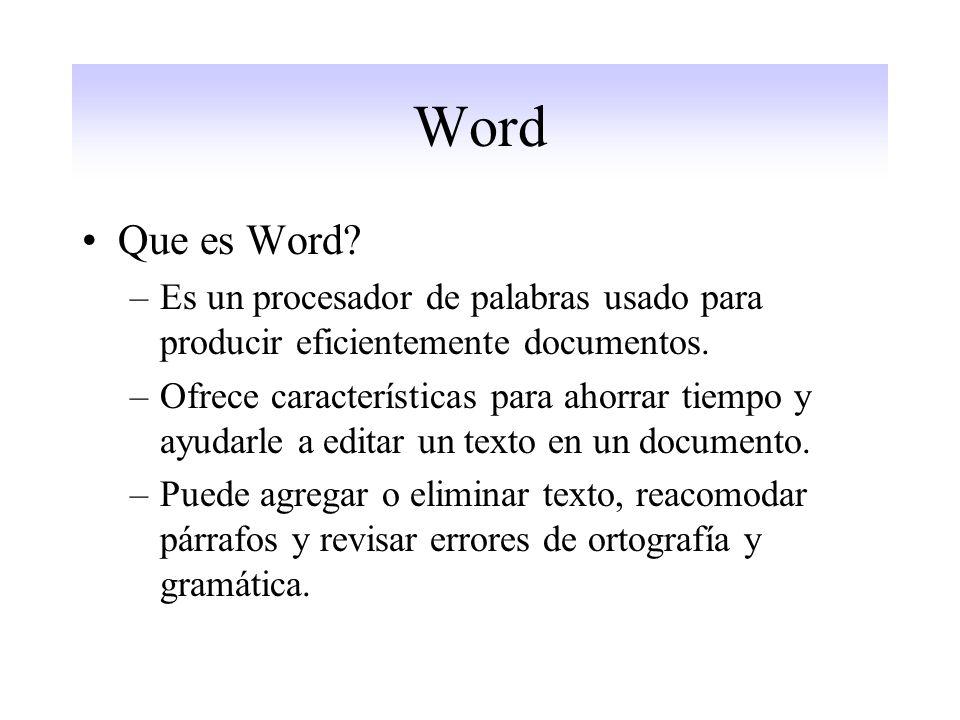 Word Que es Word.–Es un procesador de palabras usado para producir eficientemente documentos.