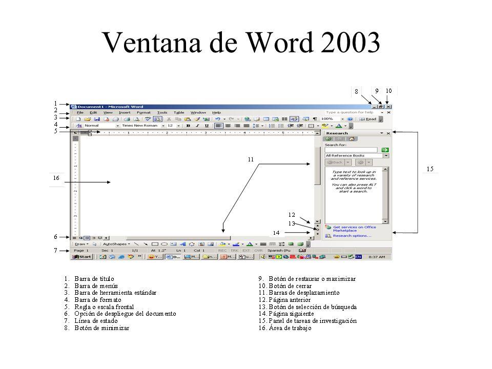 Ventana de Word 2003