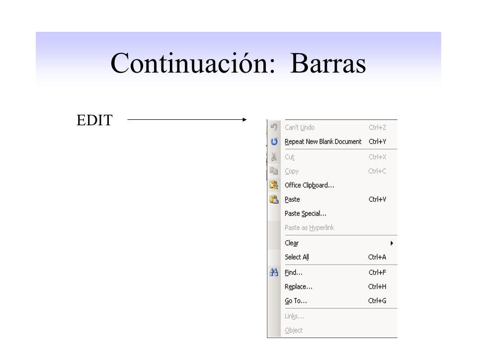 Continuación: Barras EDIT