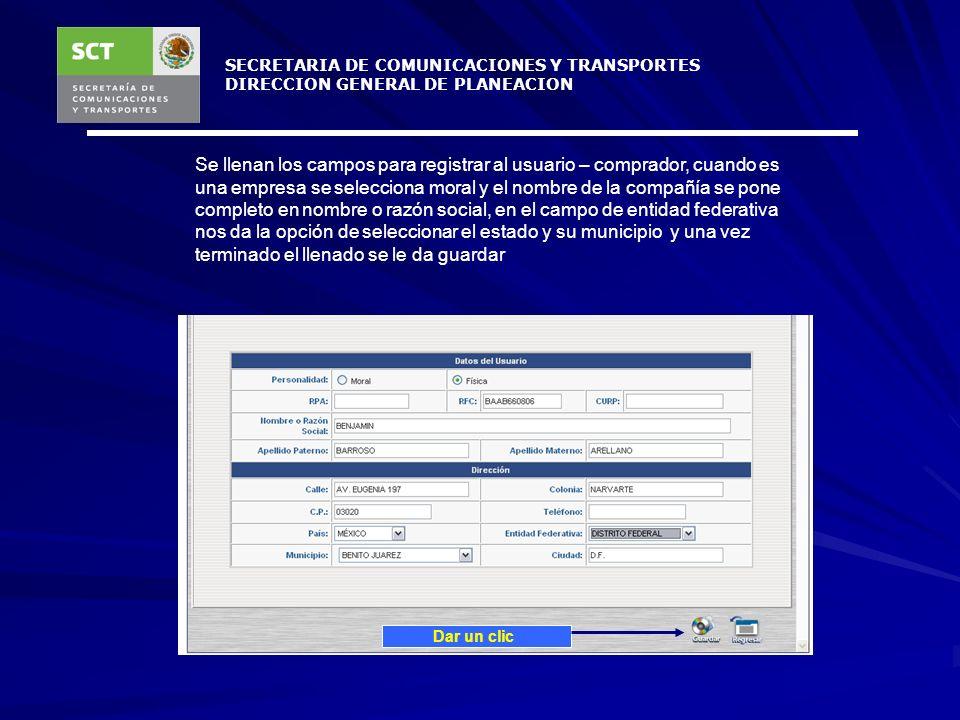 SECRETARIA DE COMUNICACIONES Y TRANSPORTES DIRECCION GENERAL DE PLANEACION Nos despliega una ventana donde se tiene que teclear el RFC del usuario - c