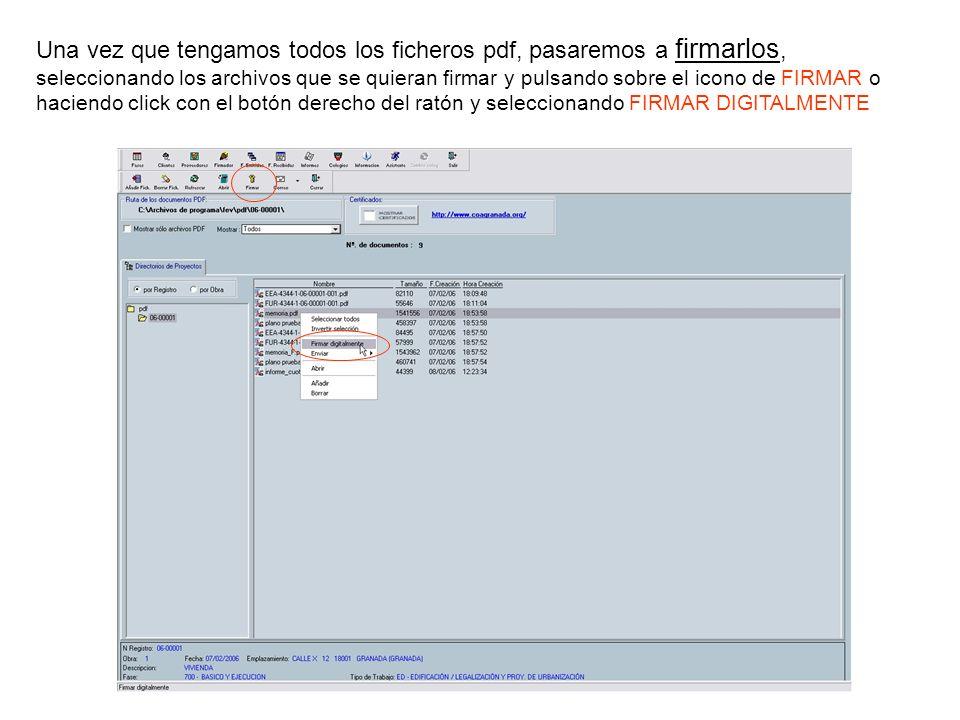 Una vez que tengamos todos los ficheros pdf, pasaremos a firmarlos, seleccionando los archivos que se quieran firmar y pulsando sobre el icono de FIRM