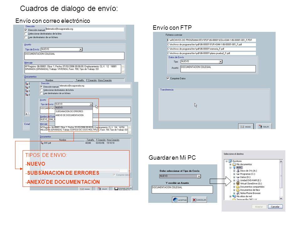 Cuadros de dialogo de envío: Envío con correo electrónico Envío con FTP Guardar en Mi PC TIPOS DE ENVIO: -NUEVO -SUBSANACION DE ERRORES -ANEXO DE DOCU