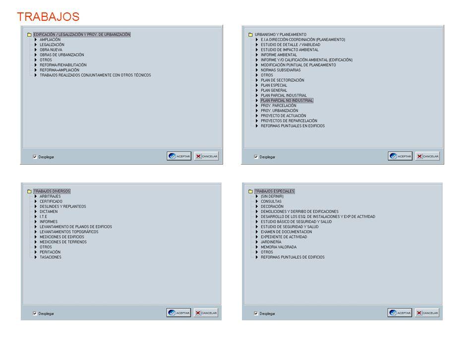 Pestaña de ARQUITECTOS Aquí podremos añadir/borrar Arquitectos colaboradores Datos y misiones encargadas del arquitecto redactor y porcentajes de participación