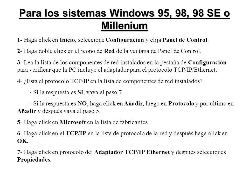 Para los sistemas Windows 95, 98, 98 SE o Millenium 1- Haga click en Inicio, seleccione Configuración y elija Panel de Control. 2- Haga doble click en