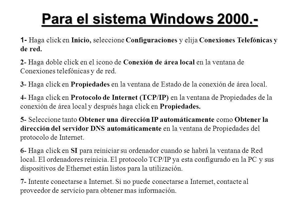 Para el sistema Windows 2000.- 1- Haga click en Inicio, seleccione Configuraciones y elija Conexiones Telefónicas y de red. 2- Haga doble click en el