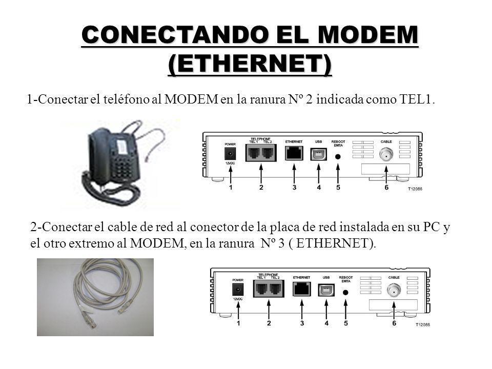 CONECTANDO EL MODEM (ETHERNET) 1-Conectar el teléfono al MODEM en la ranura Nº 2 indicada como TEL1. 2-Conectar el cable de red al conector de la plac