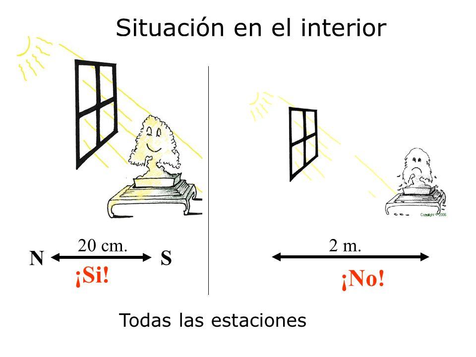 10 cm.¡No. 50 cm. S N ¡Si. Situación en el interior Verano Invierno SN Verano – 1 m.
