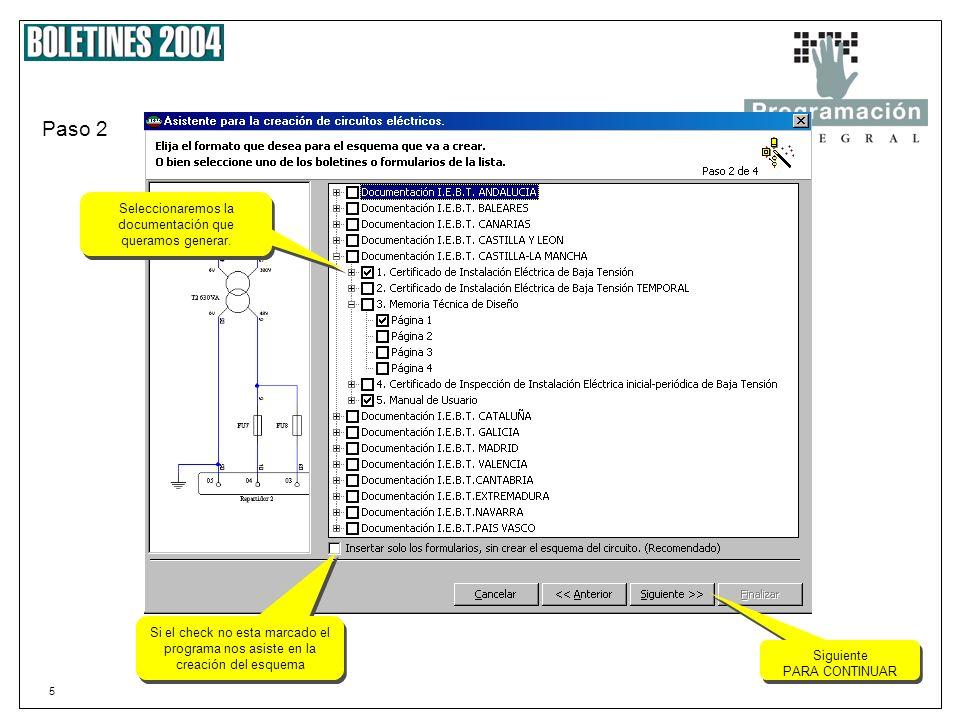 5 Paso 2 Seleccionaremos la documentación que queramos generar.