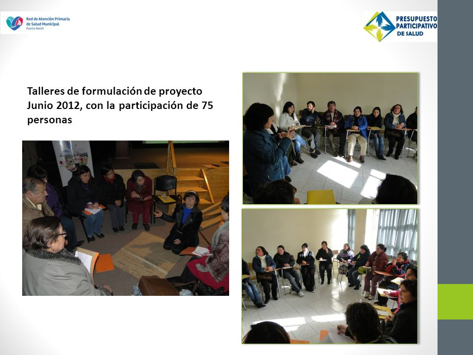Talleres de formulación de proyecto Junio 2012, con la participación de 75 personas