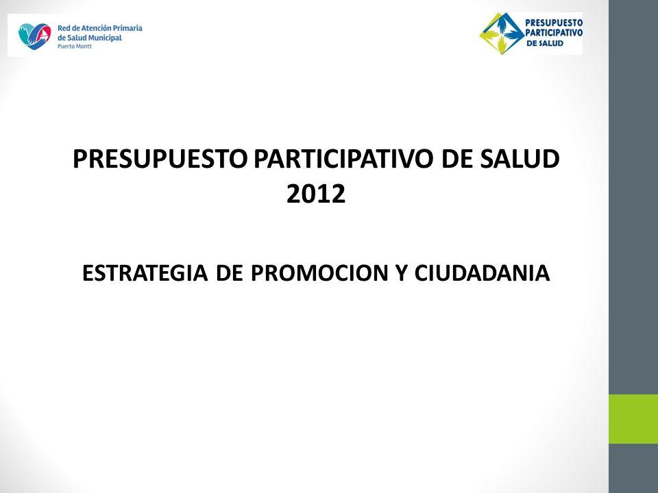 PRESUPUESTO PARTICIPATIVO DE SALUD 2012 ESTRATEGIA DE PROMOCION Y CIUDADANIA