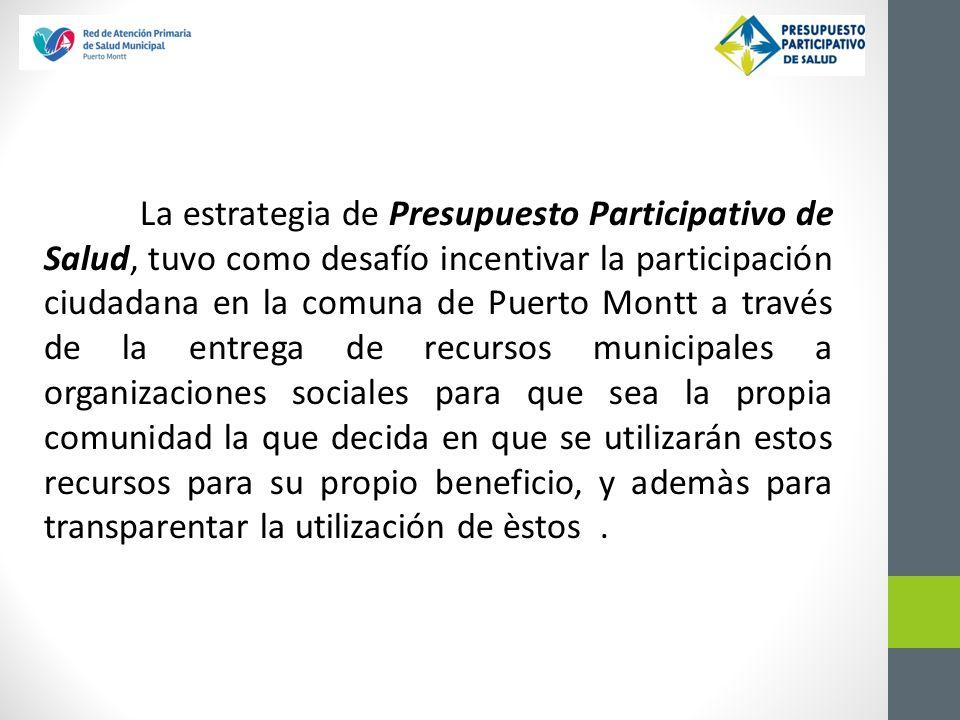 La estrategia de Presupuesto Participativo de Salud, tuvo como desafío incentivar la participación ciudadana en la comuna de Puerto Montt a través de
