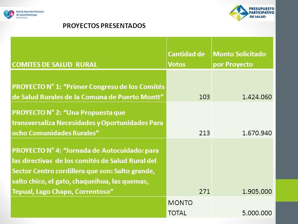 COMITES DE SALUD RURAL Cantidad de Votos Monto Solicitado por Proyecto PROYECTO N° 1: Primer Congreso de los Comités de Salud Rurales de la Comuna de