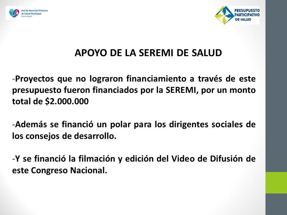 APOYO DE LA SEREMI DE SALUD -Proyectos que no lograron financiamiento a través de este presupuesto fueron financiados por la SEREMI, por un monto tota