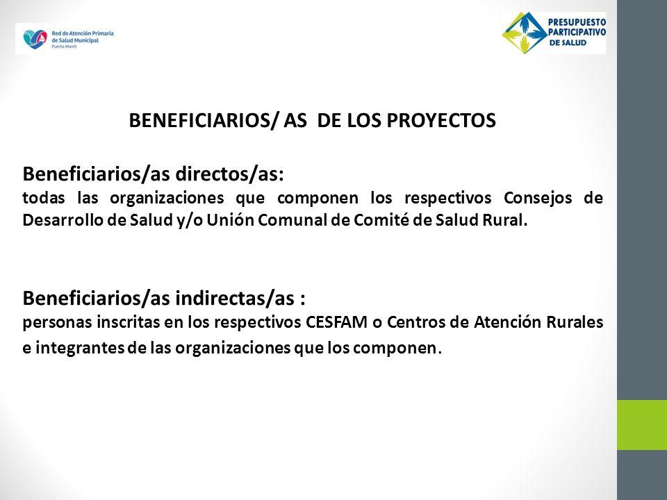 BENEFICIARIOS/ AS DE LOS PROYECTOS Beneficiarios/as directos/as: todas las organizaciones que componen los respectivos Consejos de Desarrollo de Salud y/o Unión Comunal de Comité de Salud Rural.