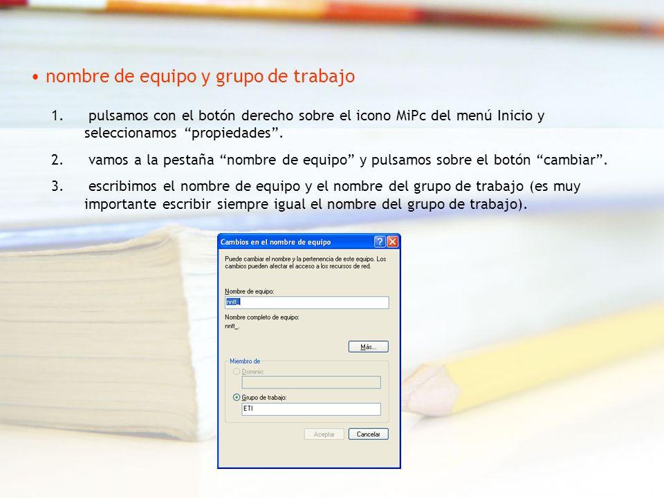 1. pulsamos con el botón derecho sobre el icono MiPc del menú Inicio y seleccionamos propiedades.