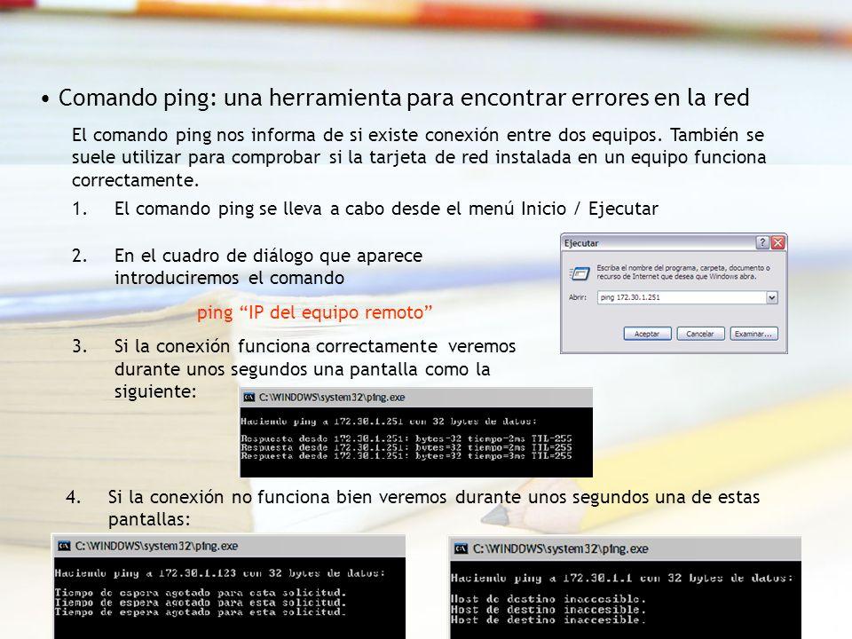 El comando ping nos informa de si existe conexión entre dos equipos.