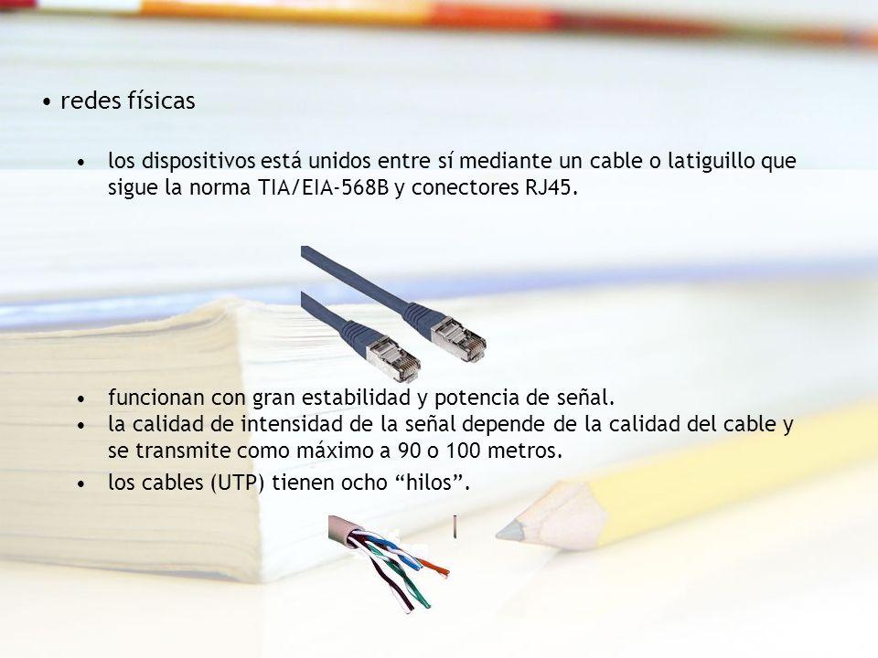 redes físicas los dispositivos está unidos entre sí mediante un cable o latiguillo que sigue la norma TIA/EIA-568B y conectores RJ45.