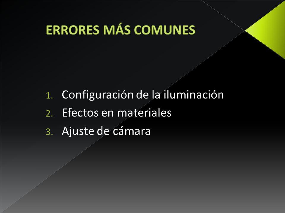 1. Configuración de la iluminación 2. Efectos en materiales 3. Ajuste de cámara