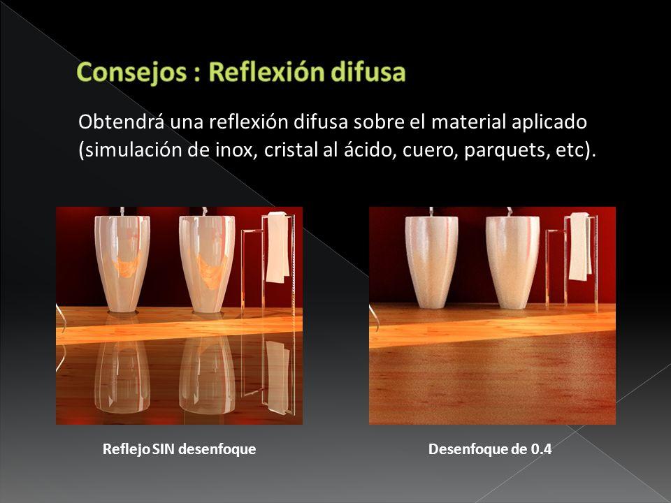 Obtendrá una reflexión difusa sobre el material aplicado (simulación de inox, cristal al ácido, cuero, parquets, etc). Reflejo SIN desenfoque Desenfoq