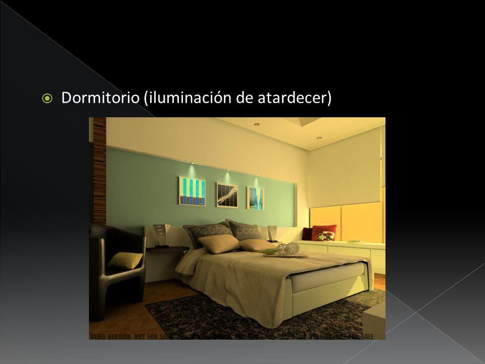 Dormitorio (iluminación de atardecer)