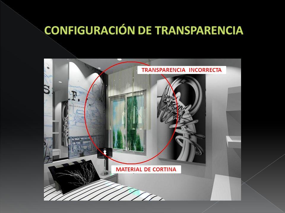 TRANSPARENCIA INCORRECTA MATERIAL DE CORTINA