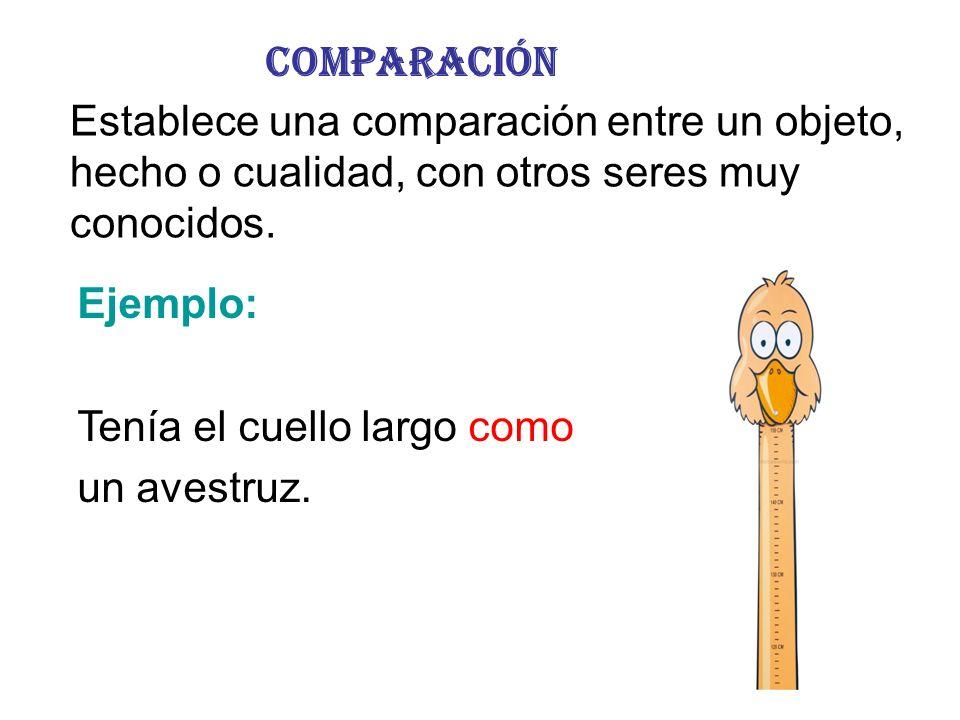 Comparación Establece una comparación entre un objeto, hecho o cualidad, con otros seres muy conocidos. Ejemplo: Tenía el cuello largo como un avestru