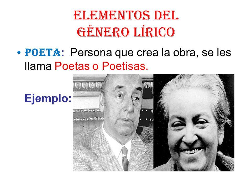 ELEMENTOS DEL GÉNERO LÍRICO POETA : Persona que crea la obra, se les llama Poetas o Poetisas. Ejemplo: