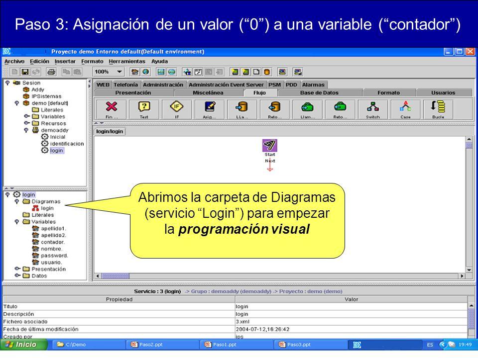Paso 3: Asignación de un valor (0) a una variable (contador) Abrimos la carpeta de Diagramas (servicio Login) para empezar la programación visual