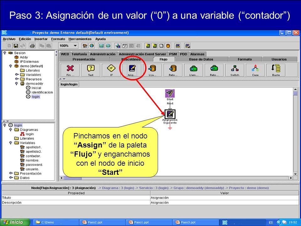 Paso 3: Asignación de un valor (0) a una variable (contador) Pinchamos en el nodo Assign de la paleta Flujo y enganchamos con el nodo de inicio Start