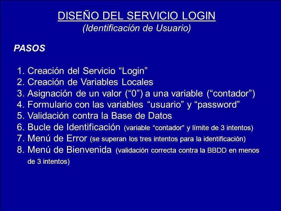 PASOS 1.Creación del Servicio Login 2.Creación de Variables Locales 3.Asignación de un valor (0) a una variable (contador) 4.Formulario con las variables usuario y password 5.Validación contra la Base de Datos 6.Bucle de Identificación (variable contador y límite de 3 intentos) 7.Menú de Error (se superan los tres intentos para la identificación) 8.Menú de Bienvenida (validación correcta contra la BBDD en menos de 3 intentos) DISEÑO DEL SERVICIO LOGIN (Identificación de Usuario)