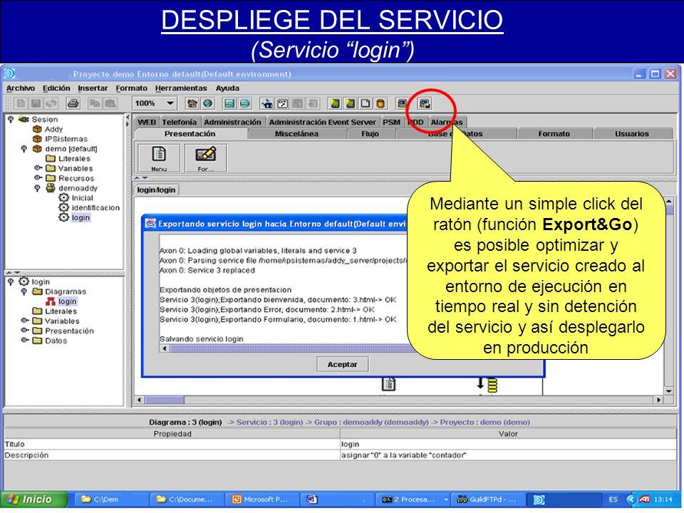 DESPLIEGE DEL SERVICIO (Servicio login) Mediante un simple click del ratón (función Export&Go) es posible optimizar y exportar el servicio creado al entorno de ejecución en tiempo real y sin detención del servicio y así desplegarlo en producción