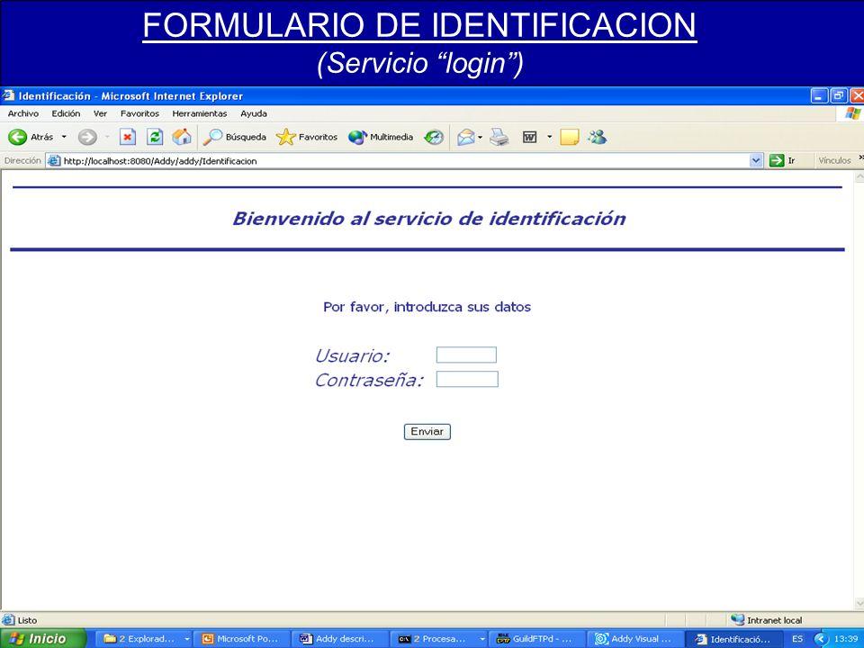 FORMULARIO DE IDENTIFICACION (Servicio login)