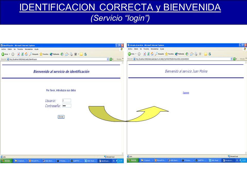 IDENTIFICACION CORRECTA y BIENVENIDA (Servicio login)