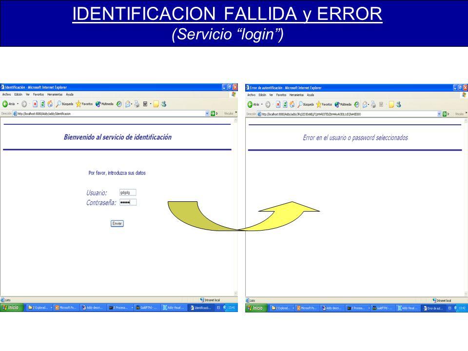 IDENTIFICACION FALLIDA y ERROR (Servicio login)