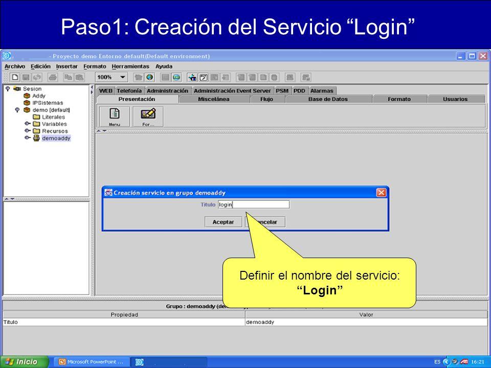 Definir el nombre del servicio: Login