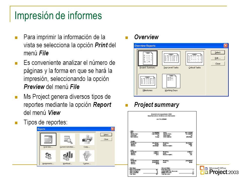 11 Impresión de informes Para imprimir la información de la vista se selecciona la opción Print del menú File Es conveniente analizar el número de pág