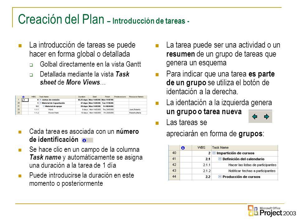 12 Creación del Plan – Introducción de tareas - La introducción de tareas se puede hacer en forma global o detallada Golbal directamente en la vista G